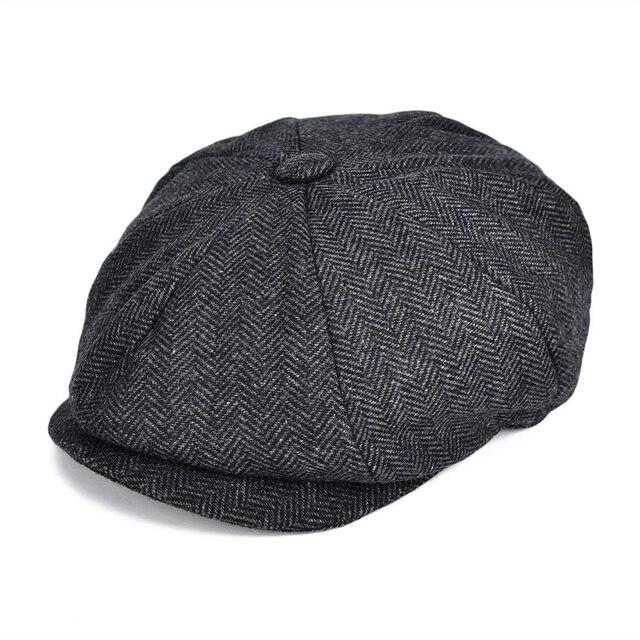 478e92f35d8 VOBOOM Wool Blend Tweed Newsboy Cap Mens Flat Caps Women 8 Panel Autumn  Winter Cabbie Driver Hat 131