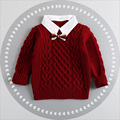 12M-4T girls warm sweaters baby girl clothesTurn-down Collar sweater kids pullover knitted outwear sweater children sweater