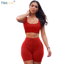 HAOYUAN 2 Piece Set Women Crop Tops and Biker Shorts Sweat Suits Sexy Club Outfits Two Piece Casual Tracksuit Matching Sets