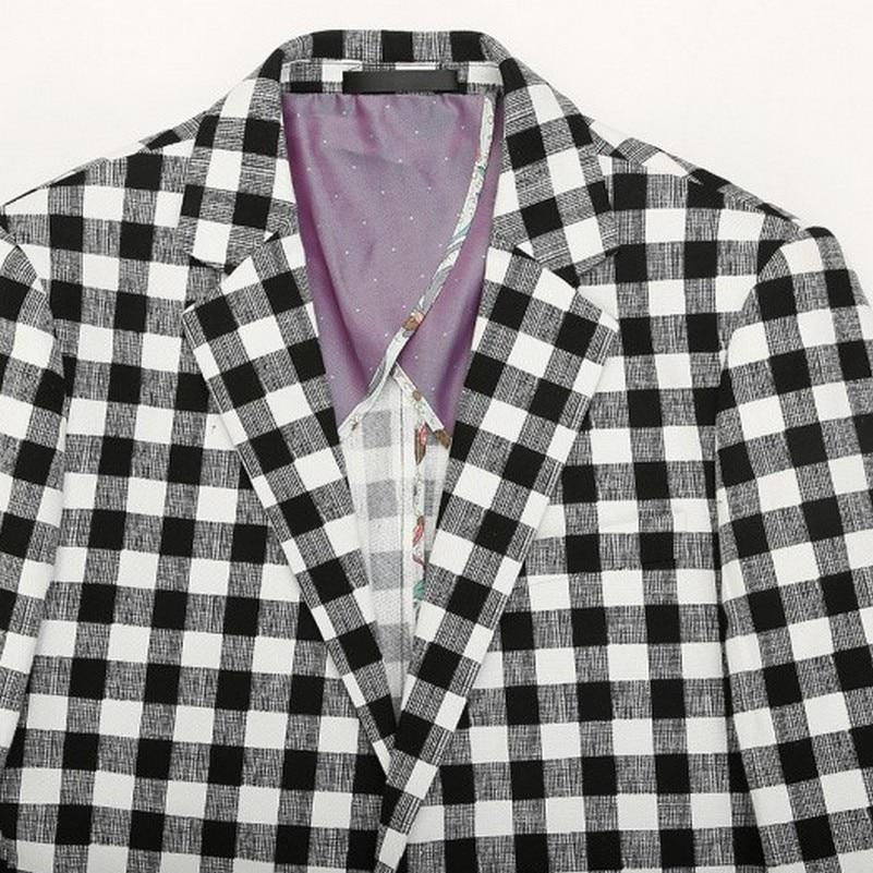 2017 Giacca da uomo slim fit stile safari in stile england check - Abbigliamento da uomo