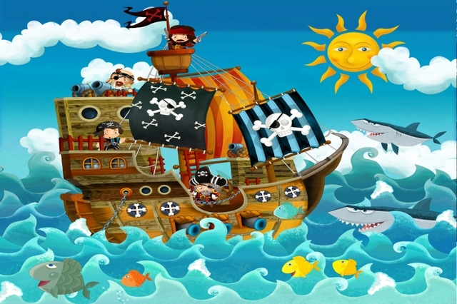 mural de bande dessin e pirate bateau mur mural 3d 3d papier peint pour chambre d 39 enfant dans. Black Bedroom Furniture Sets. Home Design Ideas
