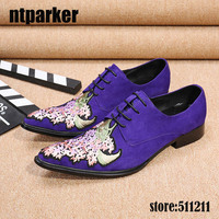 Ntparker Italian Style Dark Blue Suede Men S Dress Shoes Flower Embroidery Pointed Toe Lace Up