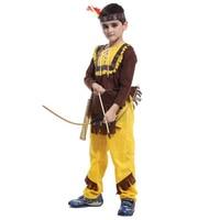 M-XL Jungen Alte Aborigines Soldat Cosplay Kostüme Kinder Mutig Kämpfer Cosplay Kleidung Tops + Gelbe Hose + Kopfband