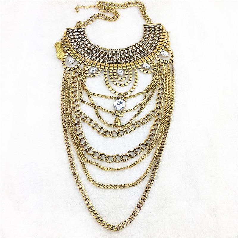 965835f459b1 2016 nuevas mujeres del diseño exagerada larga cadena de moda colgante  collar declaración capas corchetes de la aleación del cinc para Titan IUM  collar