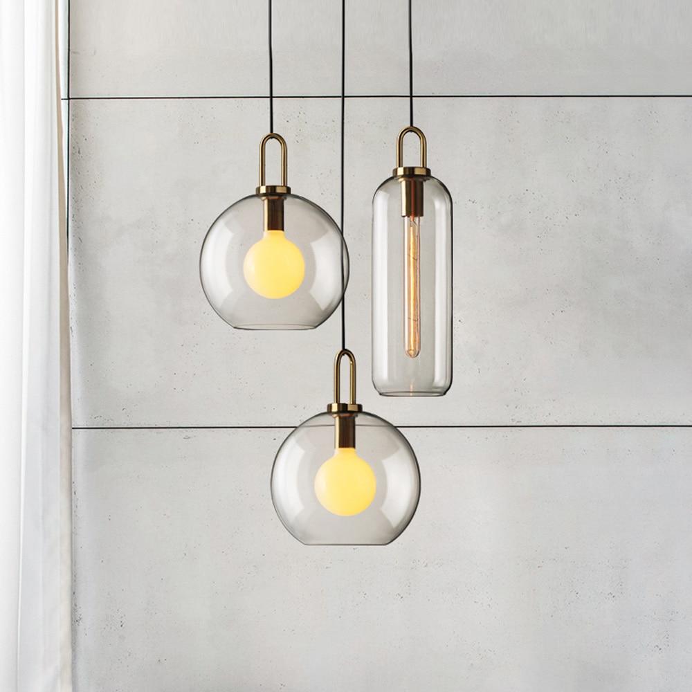 Postmodern ins Pendant Lights Luxury Restaurant Lamps Nordic Bar Bedroom Bedside Glass Ball Single Hanging Lamp