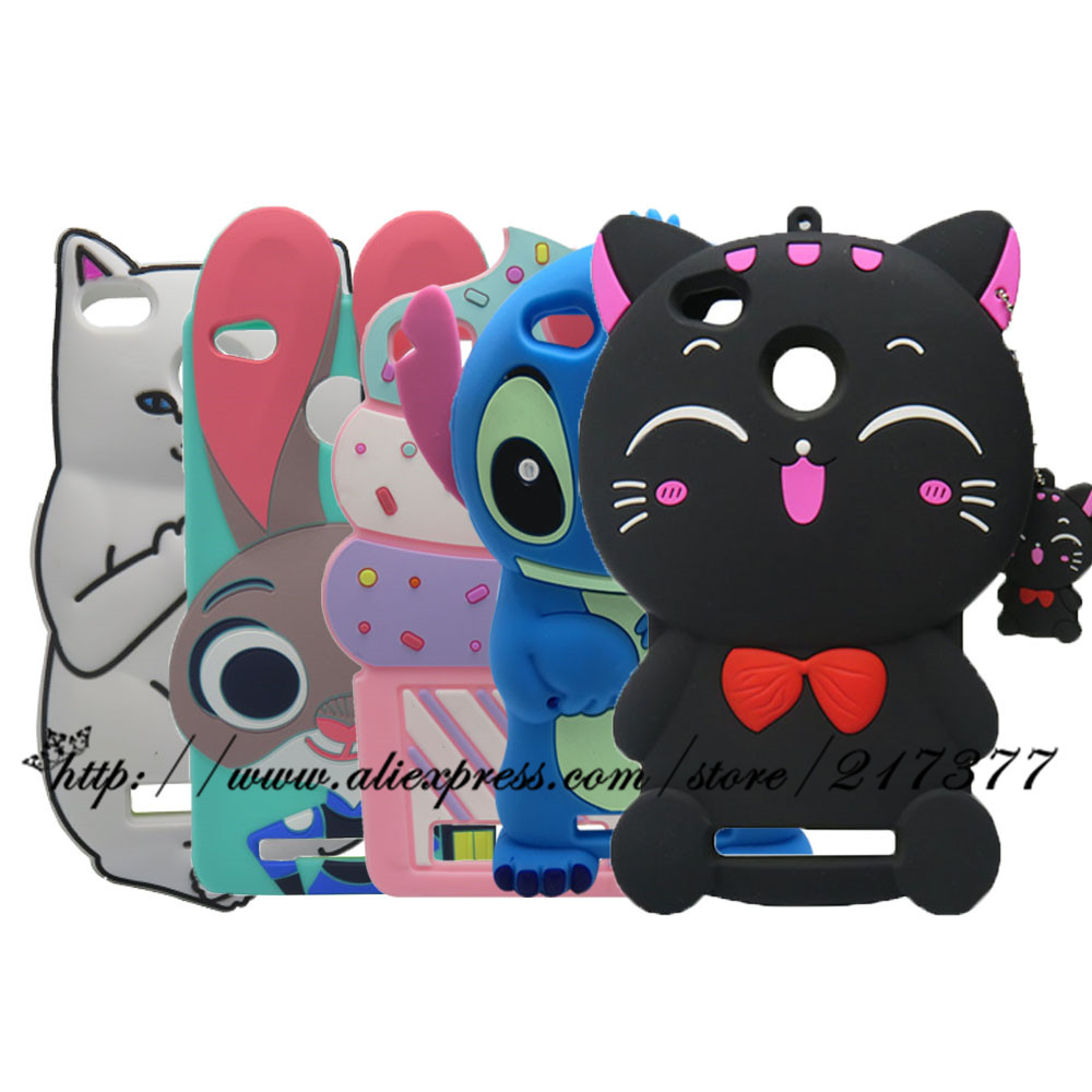 Phone Cases For Xiaomi Redmi 4A Silicone Cartoon Case 3D Stitch Rabbit Cupcakge Cat Cover For Redmi 4A 4 A Back Cover Redmi 4A