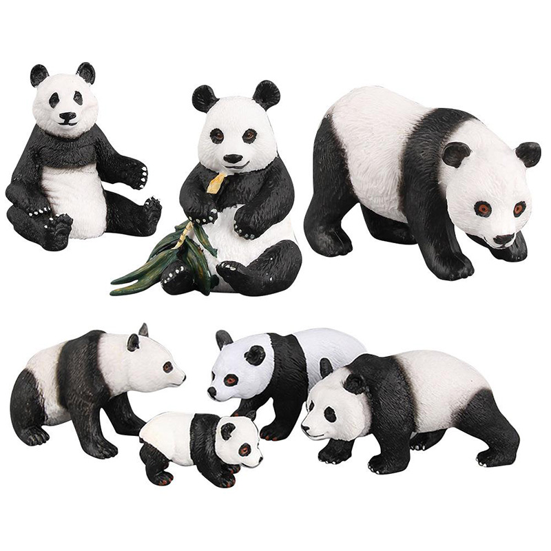 7 Kinds Simulation Panda Animal Figure Collectible Toys Cute Panda Animal Action Figures Kids Plastic Cement Toys