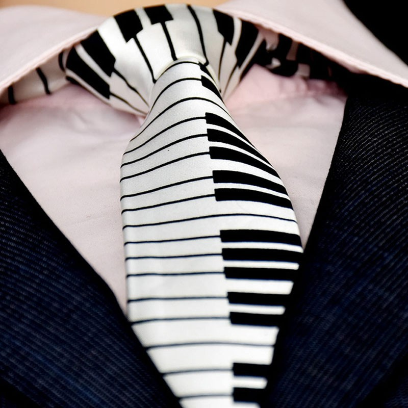 KLV Men's Black & White Piano Keyboard Necktie Tie Classic Slim Skinny Music Tie 2018 New KLV