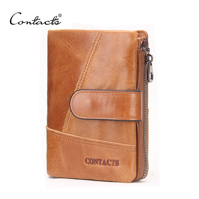 CONTACT'S Famous Brand Genuine Leather Wallet Zipper & Hasp Organizer Wallets Coin Purses Vintage Designer Carteira Masculina women female bow famous brand designer hello kitty leather long wallets purses carteira feminina couro portefeuille femme 40