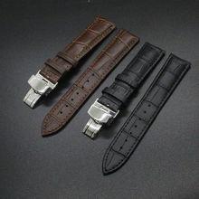 Nueva Correa de Acero Negro con Negro cosido Plegado Hebilla de Despliegue Vínculo Sólido Correas de Reloj de Pulsera Para Hombres 18mm 20mm 22mm