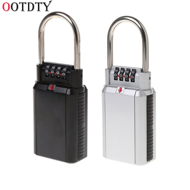 OOTDTY Keyed Locks Secret Security Padlock Key Storage Box Organizer Zinc Alloy Safety Lock with 4 Digit Combination Password