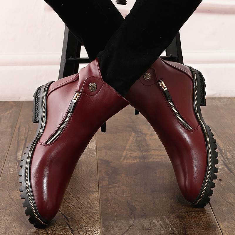 Moda Sapatos Martin Tornozelo rosy Homens Red Botas Microfibra Bege Inverno Zip De Plataforma Sólida Chelsea Motocicleta Concisa Med Casual Dos Costura ra4x8qr