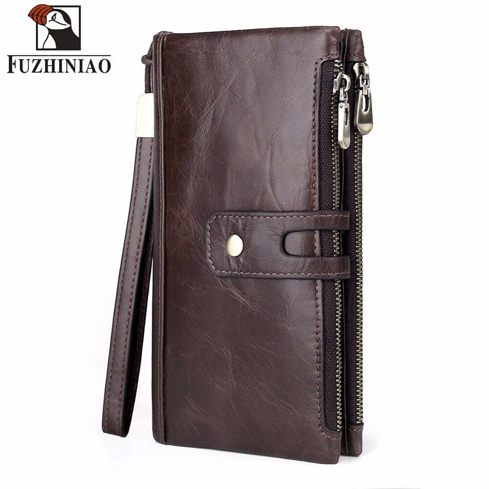 FUZHINIAO 2018 New Mens Wallet Men Genuine Leather Coin Purse Male Clutch Walet Portomonee PORTFOLIO Rfid Handy Perse Strap Long