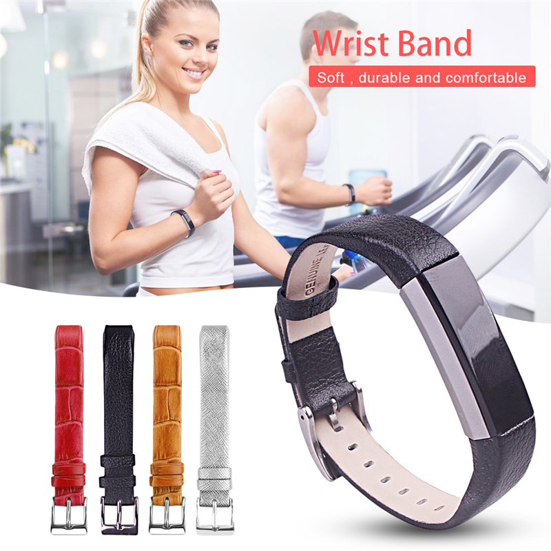 Colorful Genuine Leather Wrist Band Smart Heart Rate Monitoring Wrist Replacement Wrist Band for Fitbit Alta With Metal Buckle