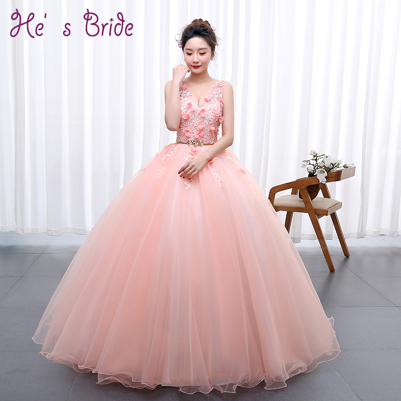 Sweet Pink Flowers Appliqued Long Prom Dresses Cheap Sexy V Neck Sleeveless Floor-length Elegant Formal Party Prom Ball Gown