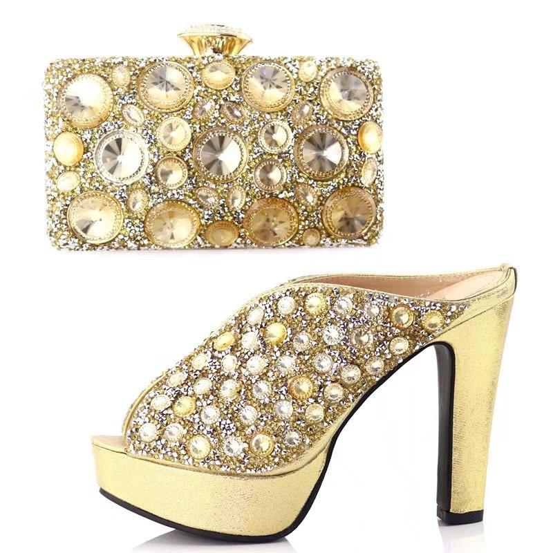 3 Aso Juego Africano Y Oro Rhinestones Muchos Bolso Boda Diseño Zapatos Conjunto A Grandes Ebi Sb8121 Con Italiano fqnFTx