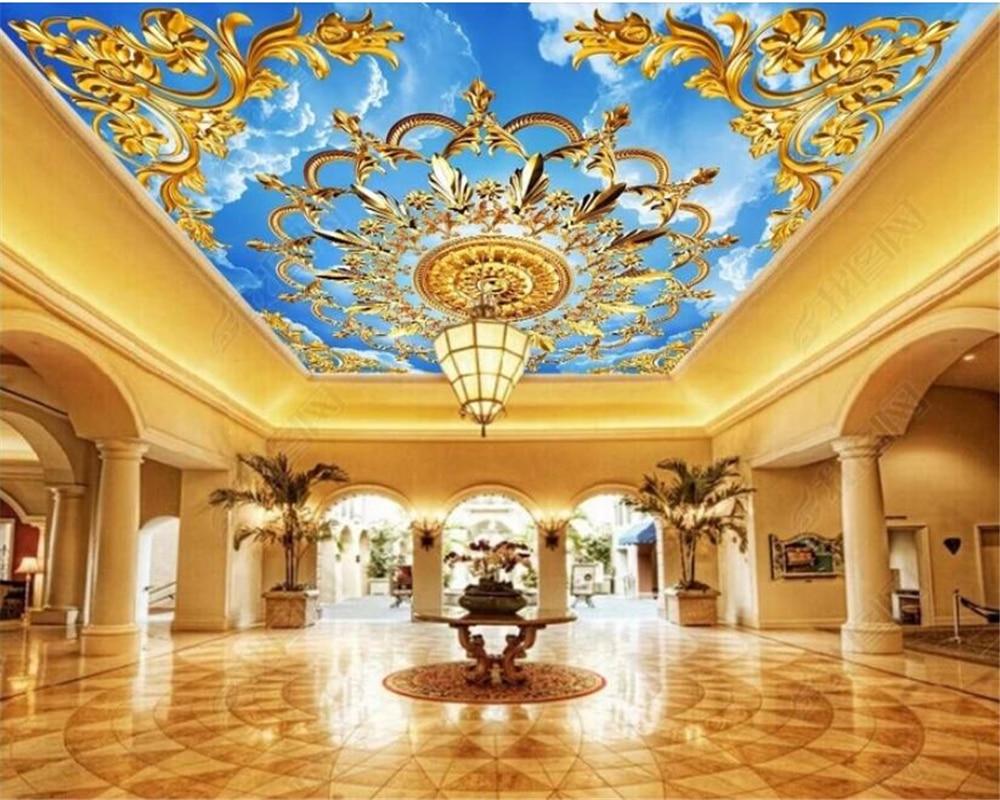 Beibehang Custom Wallpaper 3d European Church Gold Blue Sky White