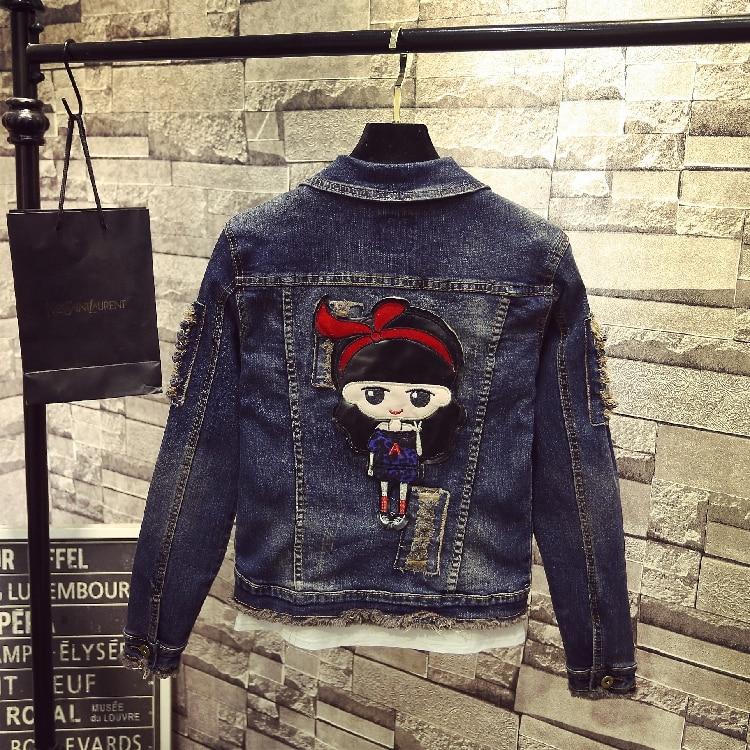 Oeaid Women's Fashion Dark Ladies Blue Coats And Jacket New Women Coat Outerwear Denim Jackets 2019 Girl rdFYw6xqr