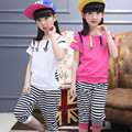 2016 Brand Summer Girls Sport Clothes Set Girls Butterfly Short Sleeve T-shirt+Stripe Pants Girls School Fashion Clothing Set