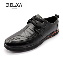 RELKA Handmade Men Vintage Casual Shoes High Quality Genuine Leather Round Toe Soft Heel Shoes Solid Lace-up Fashion Shoes P65