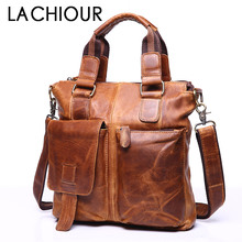 2018 New Men's Business Bag Crazy Horse Genuine Leather Fashion Male Shoulder Bags Cow Leather Laptop Handbag Men Crossbody Bags цена