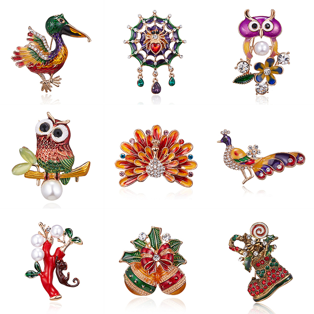 Christmas Enamel Peacock Bee duck Owl spider Bird Brooches Plant Animal Insect B