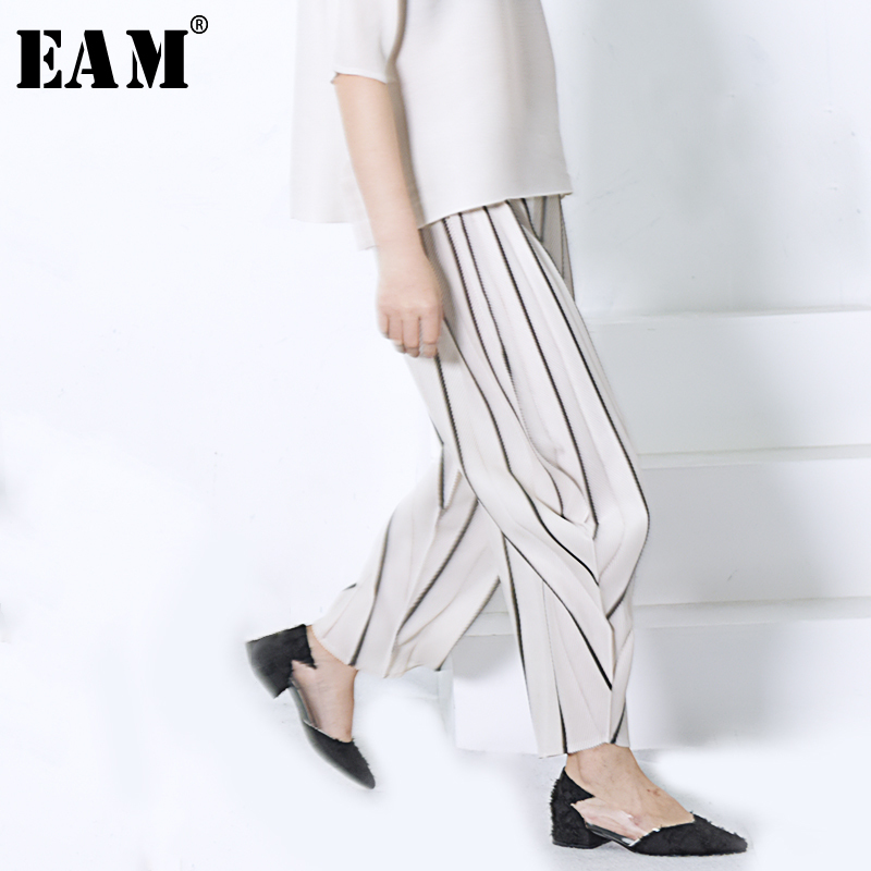 [EAM] High Quality 2019 Spring Fashion New loose personality Beige Stripe Pleated   Wide     Leg     Pants   Women's Trousers YC98412
