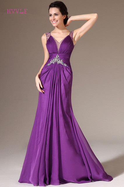 Purple   Evening     Dresses   2019 Mermaid V-neck Chiffon Beaded Lace Plus Size Long   Evening   Gown Prom   Dresses   Robe De Soiree