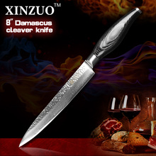 XINZUO 8″ INCHES cleaver knife Japan Damascus kitchen knife woman chef knife Color wood handle high quality sharp free shipping