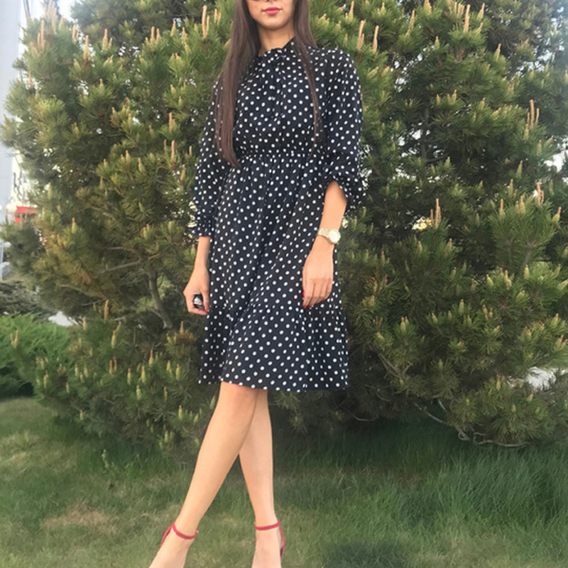 19 Autumn Winter Dress Women Chiffon Midi Casual Red Floral Long Sleeve Office Dress Polka Shirt For Ladies Dress Vestidos 5