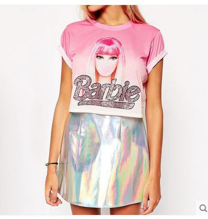 865e31978ed28 US $16.25 |Women's cute sweet college style Barbie Doll print paillette  Barbie letter short sleeve t shirt gradient barbie pink tops-in T-Shirts  from ...
