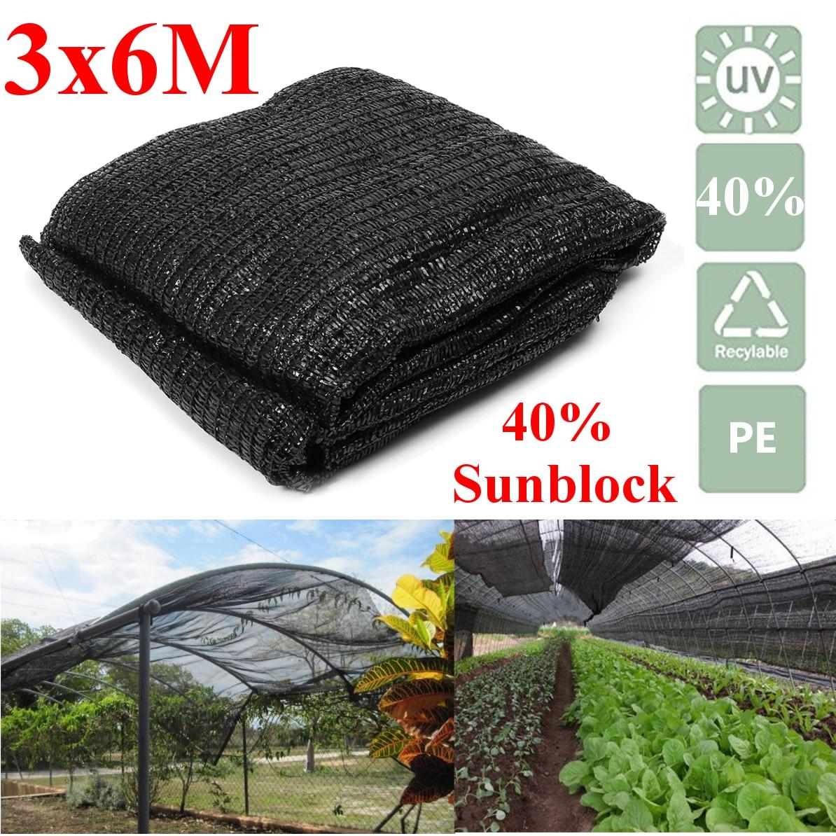 6x3m Black Sunblock Shade Cloth Plant Cover Shading Anti UV Outdoor Sunscreen Shelter Canopy Patio Garden Decoration PE Netting