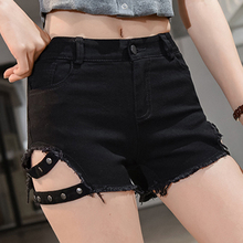 купить Sexy Booty Shorts Women Summer High Waist Short Jeans Feminino Korean Fashion Rivet Hem Frayed Black White Denim Skinny Shorts по цене 820.91 рублей