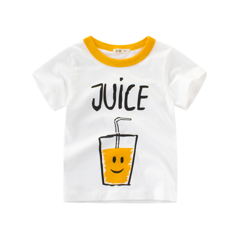 Europe America Tops Childrens Blouse T-shirt Kids Baby Boys Clothing Tshirts Cartoon Juice Summer Girls Clothes Free Shipping