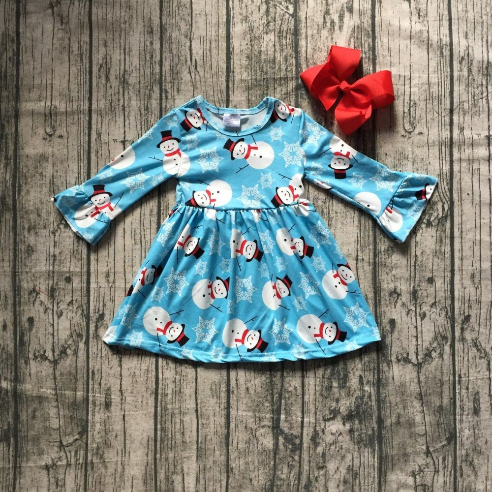 цена на baby girls Christmas dress girls Christmas Snow baby print dress girls blue dress Christmas milksilk dress long sleeve with bows