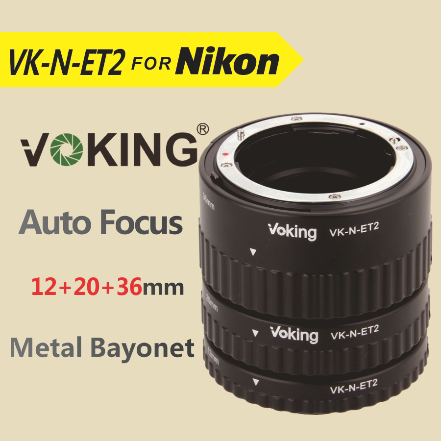 Voking Auto Focus tube Extension Macro Ring VK-N-ET2 pour Nikon D7100 D5200 D3100 D800 D90 D800E D5100 D7000 D3100 DSLR caméras
