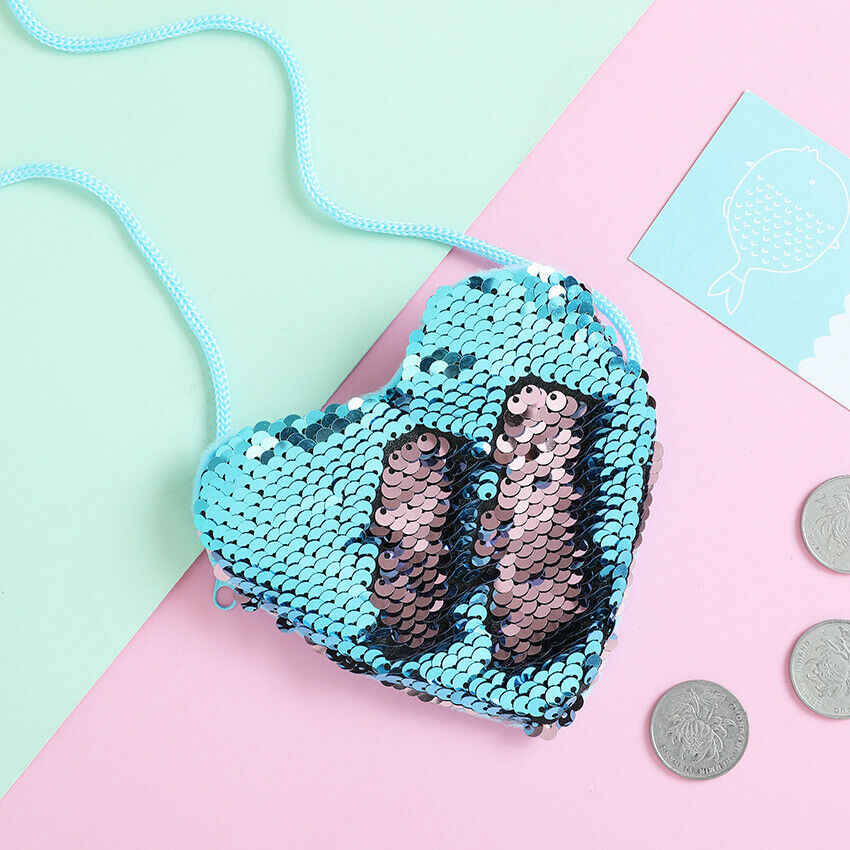 2019 Nieuwe Mode Kinderen Meisje Childs Schouder Paillette Tas Crossbody Hart Mini Tassen Sequin Kleurrijke Portemonnees