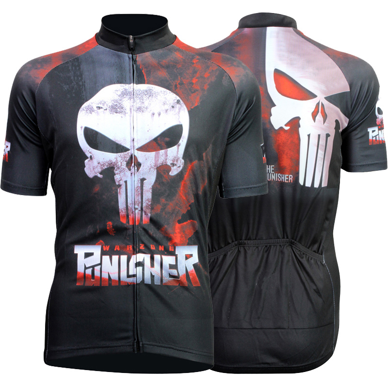 Prix pour Vente chaude Punisher Respirant Vélo Jersey D'été Vtt Court Anti-sueur Vêtements De Vélo À Séchage Rapide Polyester Taille XS-4XL