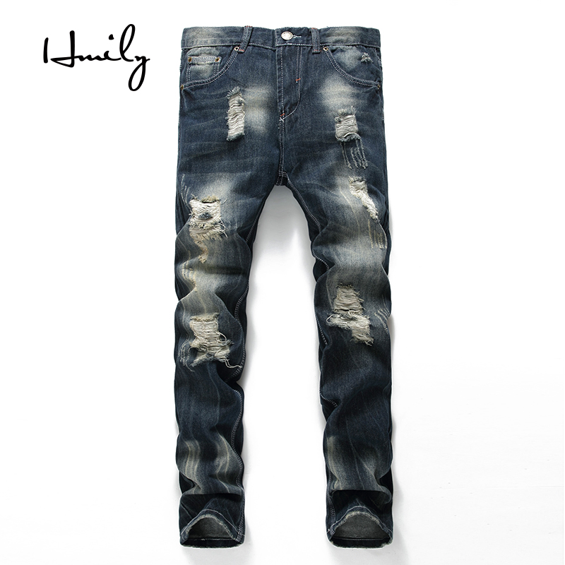 HMILY High Quality Ripped Biker Jeans Mens Distressed Denim Pants Man Torn Patches Stretch Jeans Men Blue Color Trousers