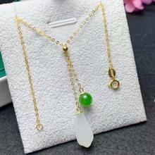 SHILOVEM 18k yellow gold natural White Jasper pendants none necklace  classic wholesale Fine women new gift 8*16mm myme08162hby