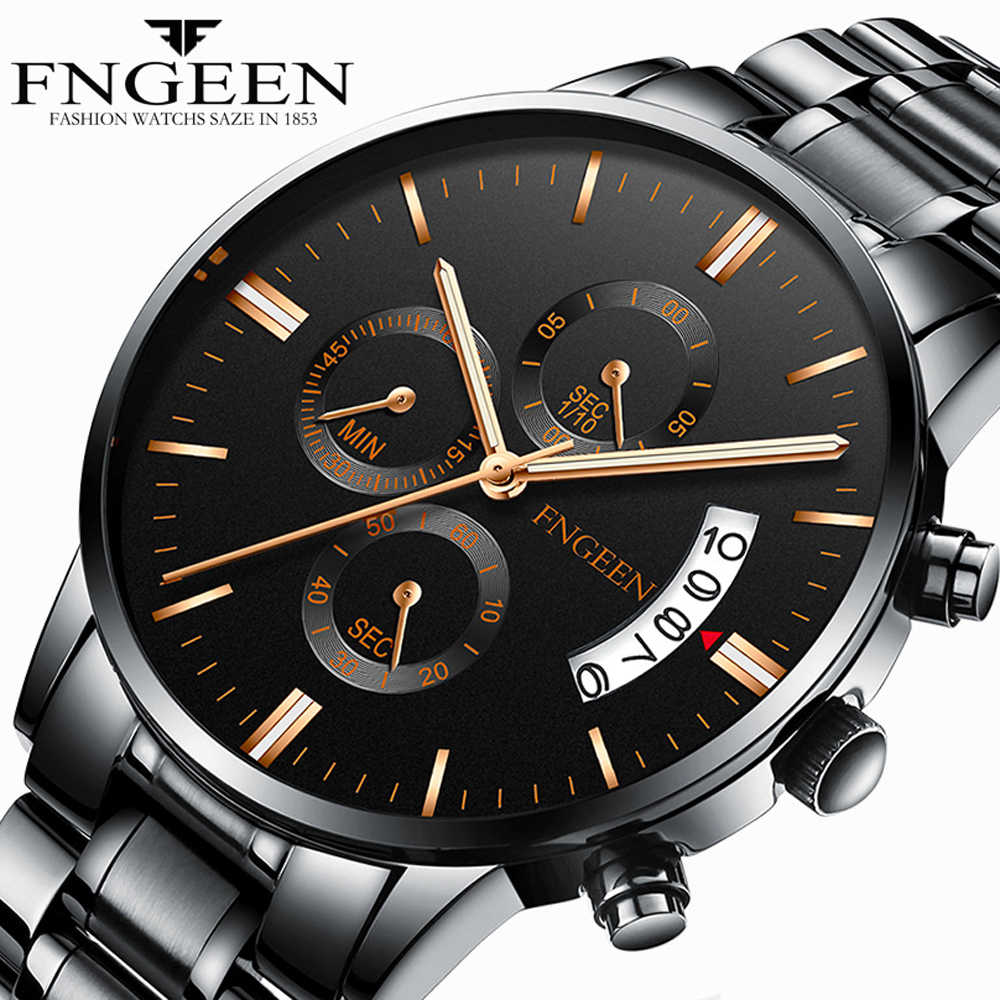 94f7d7def FNGEEN Quartz Watch Men 2018 Fashion Trend Steel Waterproof Luminous Wrist  Watch Man Sports Date Clock
