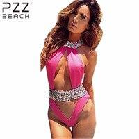 2016 Sexy High Neck One Piece Suits Diamond Swimsuit Crystal Women Swimwear Luxury Rhinestone Bikini High