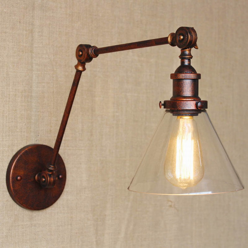 industrial style antique rust iron glass wall lamp/swing arm wall lighting for workroom/Bathroom Vanity 2 applies arm Tornado