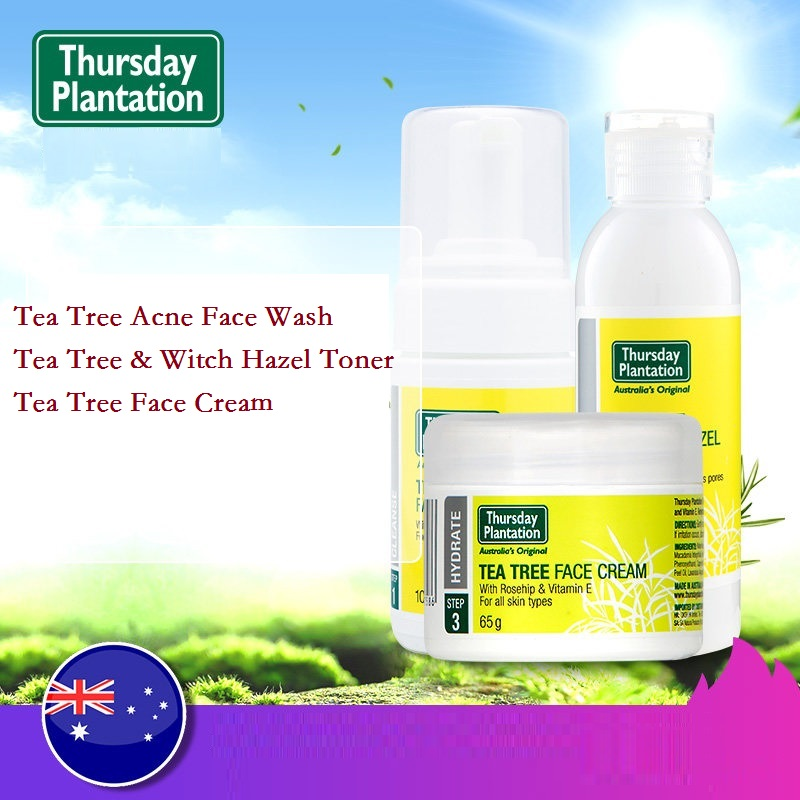 Australia Thursday Plantation Tea Tree Oil Acne Foaming Face Wash 100ml+Tea Tree & Witch Hazel Toner 100m+Tea Tree Face Cream65g australia high quality 100%pure tea tree oil 50ml acne treatment remove shrink pore antiseptic powerful acne remover