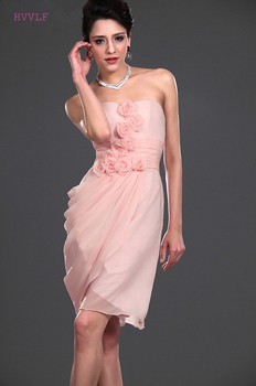 Pink Cheap Bridesmaid Dresses Under 50 Sheath Sweetheart Chiffon Flowers Knee Length Short Wedding Party Dresses
