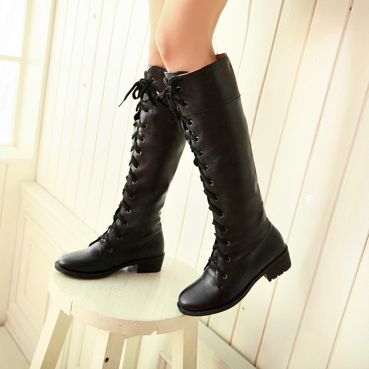 Vintage Red Women Boots Knee High Lace Up Long Boots Square Thick Heel Flat Martin Boot for Autumn Winter Female Plus Size 43 jady rose vintage black women knee high boots lace up side zip platform high boots thick heel flat martin boot for autumn winter