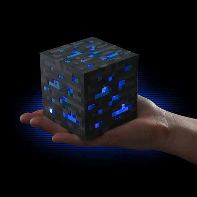 Minecraft Свет Популярные Игры Редстоун Руды Площадь Minecraft Ночь светодиодная Minecraft Фигура Игрушки Загораются Комнате Свет