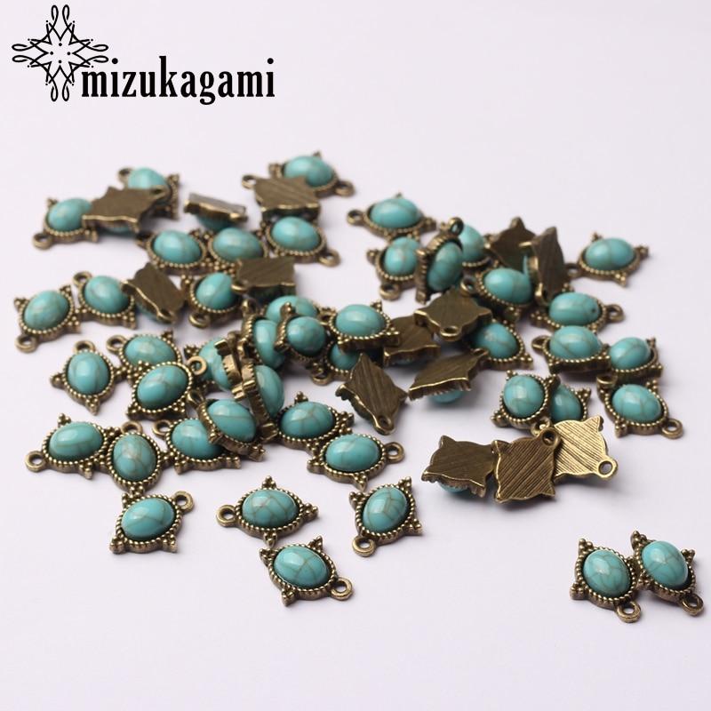 Retro Bronze Kleine Oval Blau Harz Stein Tropfen Zink-legierung Charms 12*15mm 10 teile/los Für DIY Ohrringe halskette Schmuck Zubehör