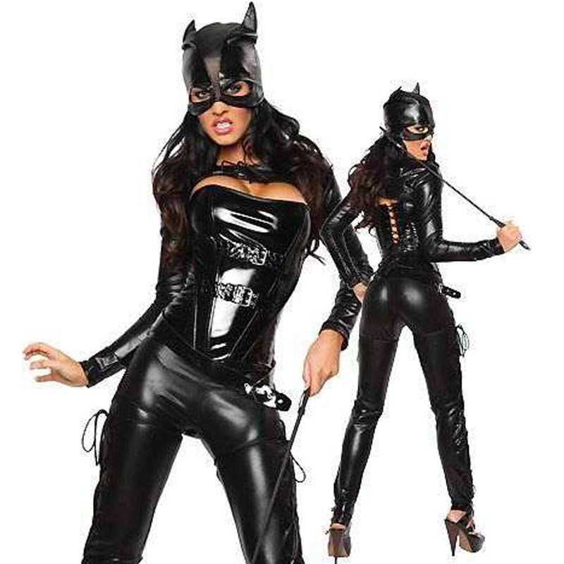 Buy Sexy Faux Leather Catwoman Costume Jumpsuit Zentai Vinyl PVC Latex Catsuit Crotchless Teddy Lingerie Nightclub Bodysuit Mask