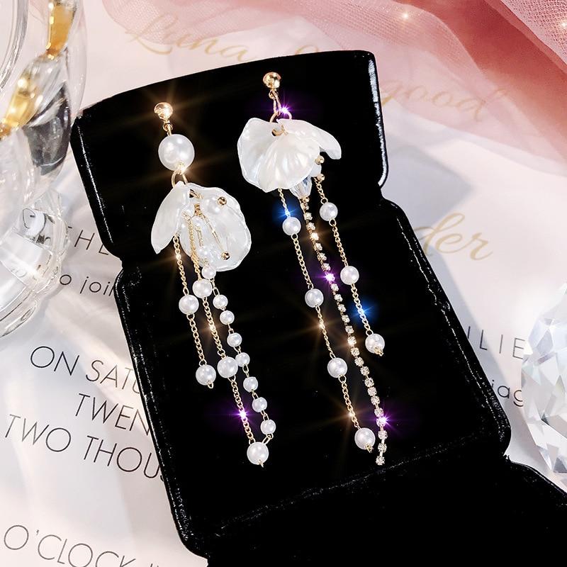 2019 Korea New Fashion Pearl Shell Fringed Earrings Female Long Style Elegant Eardrop Trend Web Celebrity Hot Style Earrings